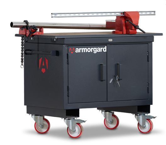 Oxtrad Tools Ltd Armorgard BH1270M-VF Mobile Tuffbench, Wooden Top and Vices